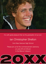 Fine Red Black Band Graduation Photo Announcements