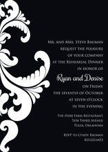 Ornate Damask Black Invitations