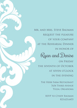 Ornate Damask Light Blue Invitations