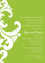 Ornate Damask Lime Invitations