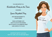 Casual Brunette Bachelorette Invitations