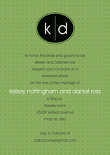 Simple Oval Monogram Black-Green Invitations