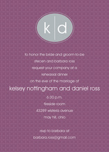Oval Monogram Grey Purple Formal Invitations