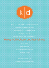 Oval Monogram Orange Blue Formal Invitations