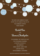Blue Lanterns Brown Invitations