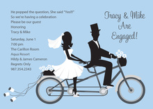 Bike Ride Couple Blue Invitations