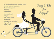 Bike Ride Couple Yellow Invitations