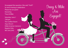 Bike Ride Pair Hot Pink Invitations