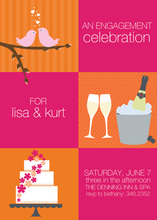 Squares Orange Pink Invitations