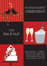 Squares Berry Black Invitations