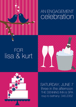 Squares Navy Pink Invitations