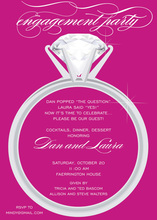 Wedding Solitaire Hot Pink Invitations
