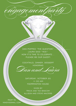 Modern Solitaire Ring Green Invitations