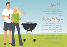Blonde Cookout Barbeque Couple Invitations