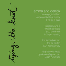 Tying The Knot Green Square Invitations