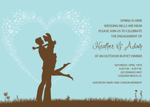 Silhouette Loving Couple In Blue Invitations