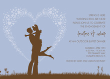 Silhouette Love Lavender Engagement Invitations