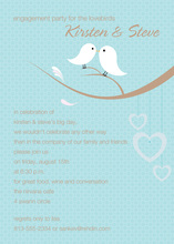 Lovely Birds Classic Blue Invitations