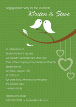 Lovely Birds Stylish Green Invitations