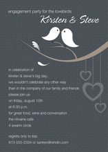 Lovely Birds Charcoal Invitations