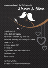 Lovely Birds Modern Black Invitations