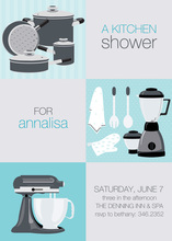 Grey Mint Squares Kitchen Shower Invitations