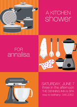 Pink Squares Kitchen Shower Invitations