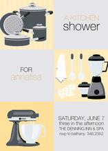Yellow Squares Kitchen Shower Invitations
