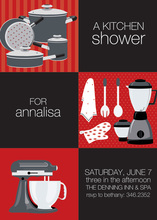 Black Squares Kitchen Shower Invitations