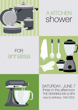 Green Squares Kitchen Shower Invitations