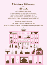 Kitchen Silhouette Pink Invitations