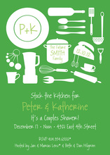 Utensil Silhouette Green Invitations
