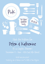 Utensil Silhouette Light Blue Invitations