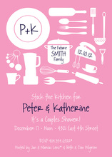 Utensil Silhouette Pink Invitations