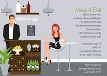 Bar Scene Redhead Invitations