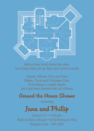 House Plans Blue Thank You Cards