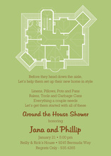 New House Plans Green Invitations