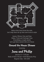 House Plans Black Invitations