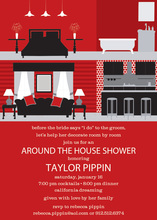 House Interior Red Invitations