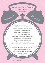 Alarm Clock Shower Pink Invitations
