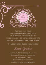 Hanging Clock Pink Invitations