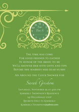 Hanging Clock Green Invitations