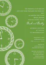 Faces of Time Olive Clock Shower Invitations