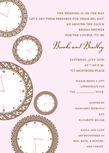 Faces of Time Pink Clock Shower Invitations