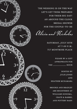 Faces of Time Black Clock Shower Invitations