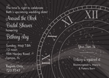 Tick Tock Black Clock Shower Invitations