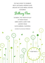 Flower Clocks Green Invitations