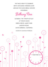 Flower Clocks Pink Invitations