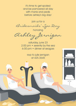 Sexy Spa Day Yellow Invitations