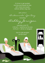 Stylish Spa Day Special Green Invitations